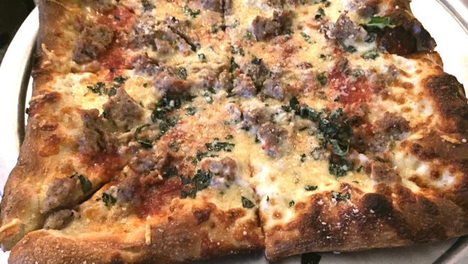 The Old School Square pizza with pork sausage.