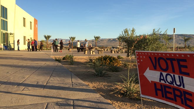 Voters on Election Day at Northgate Community Church in Rancho Mirage.