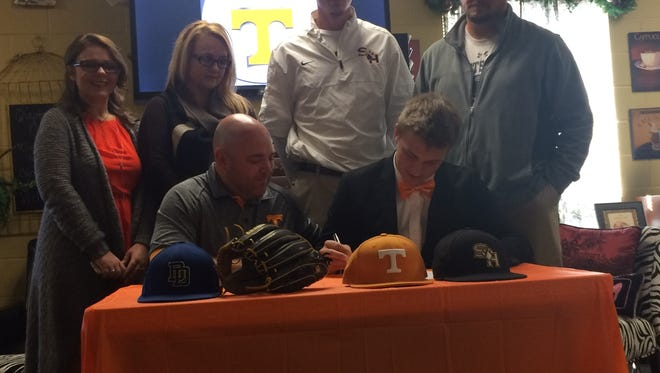 Scotts Hill senior Evan Russell  signs his national letter of intent to play baseball at the University of Tennessee.