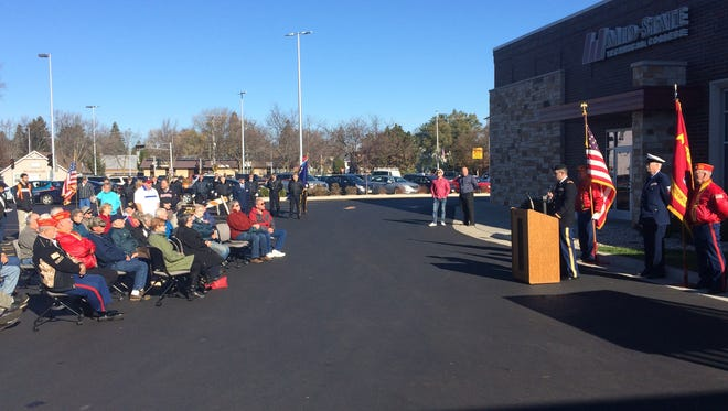 Community members, veterans and local officials gathered outside of Mid-State Technical College in downtown Stevens Point on Friday, Nov. 11, 2016 to take part in a Veterans Day observance ceremony. Speakers included 1Lt Nathan T. Wallin, Wisconsin Air National Guard, and Captain Francis I. D'Allura, University of Wisconsin-Stevens Point ROTC. Local veterans groups that participated in the event included the Central Wisconsin Detachment 350 of the Marine Corps League, Stevens Point American Legion Post 6, Polish Legion of American Veterans John Paul II Post 185, Vietnam Veterans of America #115, Disabled American Veterans Chapter #30 and AMVETS Post 1051. Other ceremonies in the community were hosted by Plover Veterans of Foreign Wars Post 10262 and Plover American Legion Post 543, and UW-Stevens Point.