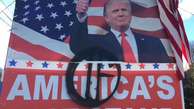 Donald Trump sign vandalized outside the Rockland campaign headquarters on Route 304 in Bardonia