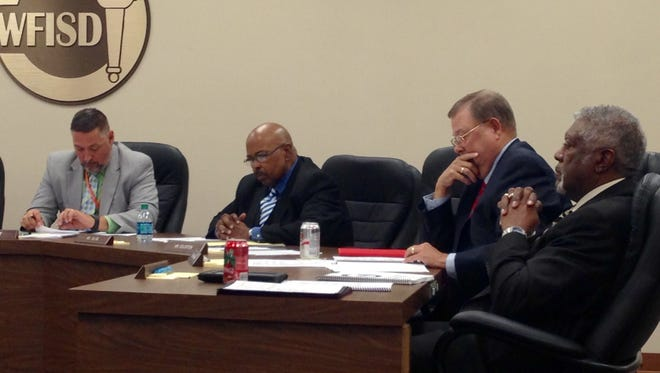 The Wichita Falls ISD school board discussed its financial accountability and got an update on the Career Education Center build at the Nov. 14 meeting. It also was longtime trustee Reginald Blow's last meeting with the board. He did not seek re-election. Pictured are Superintendent Michael Kuhrt and trustees Reginald Blow, Bill Franklin and Tom Bursey (from left).