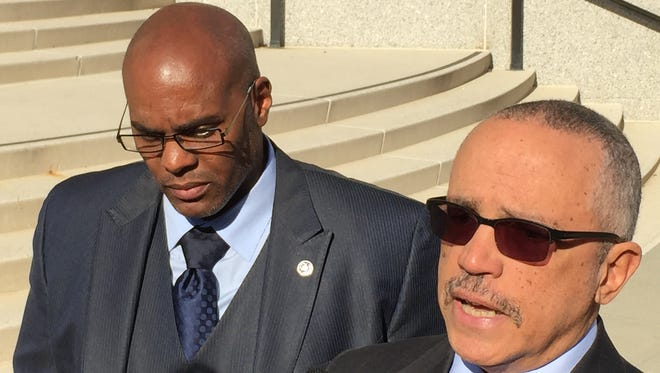 Kenneth Chamberlain Jr., left, and his lawyer, Randolph McLaughlin, speak outside White Plains federal courthouse on Monday, Nov. 14, 2016. Chamberlain has sued the city of White Plains and police officer Anthony Carelli over the shooting death of Kenneth Chamberlain Sr. on Nov. 19, 2011.