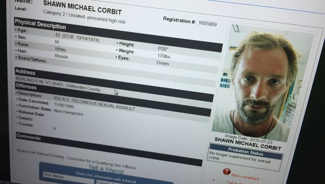 Shawn Corbit, as shown on Vermont's online Sex Offender Registry, was arrested Thursday after authorities say he was not compliant with registry requirements.