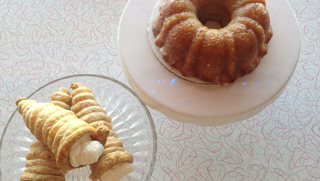 Cream horns and rum cake at Janie's Sweet Delights on Fort Myers Beach.