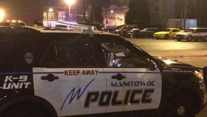 A Manitowoc Police Department vehicle responds to the scene of a crime in 2016.