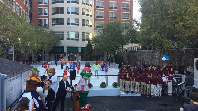 The ceremonial first skate kicks off the 2016-2017 season of United Community Bank's Ice on Main. Nov. 18, 2016