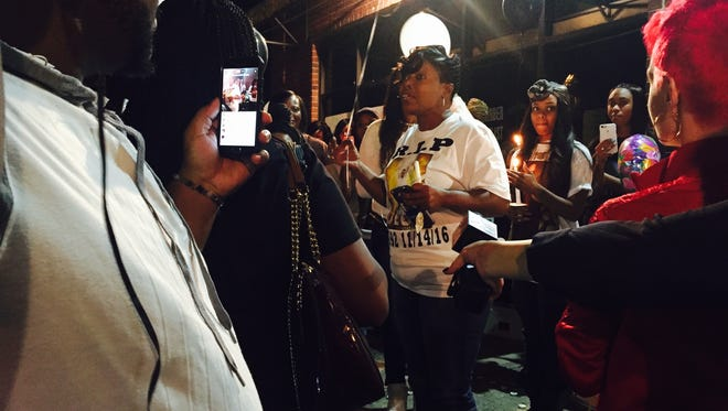 Sonja Brown, Deon Brown's step-mother, talks about her step-son at a candlelight vigil Nov. 18, 2016.