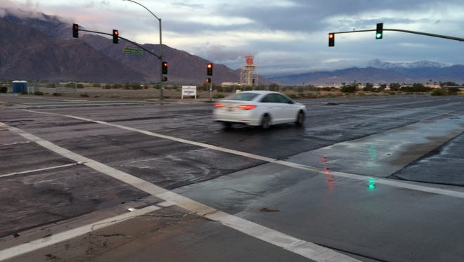 Coachella Valley roads were wet Monday morning after a storm passed through the area. It dropped up to a tenth of an inch on the western valley, forecasters said.