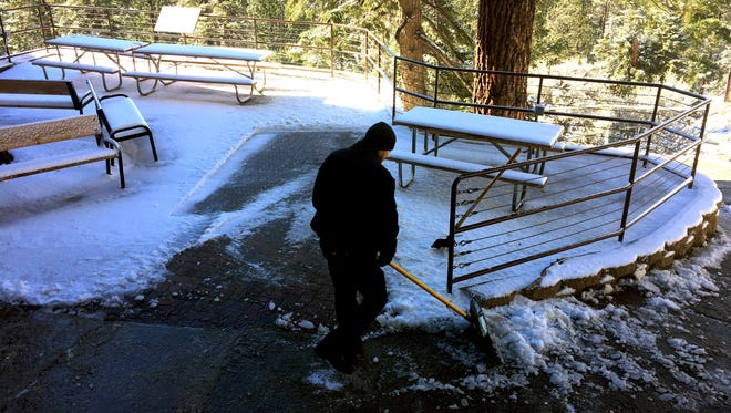 There's one and a half inches of snowfall at the Palm Springs Aerial Tramway on Monday, November, 21, 2016.
