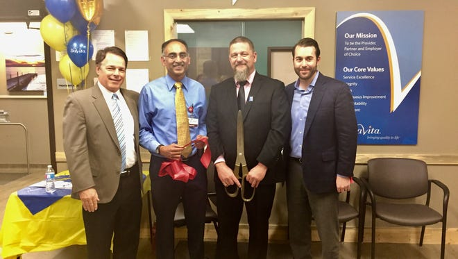 DaVita opened a new Fort Collins dialysis center to treat patients with chronic kidney disease on Prospect Road. Pictured left to right: Larry Gray, CEO, Colorado Kidney Care, Dr. Jitendar Rao, medical director, John Hoxie, facility administrator, DaVita and Justin Searle, regional operations director, DaVita.