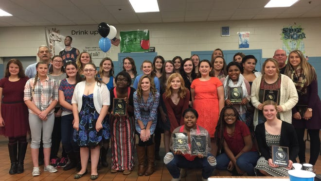 The 2016 Union County Bravettes Volleyball team during their annual banquet.