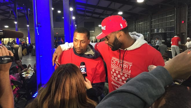 The Detroit Pistons' Kentavious Caldwell-Pope, left, and Andre Drummond speak with the media.