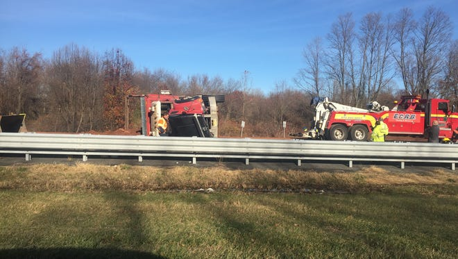 An overturned tractor trailer is causing delays on Route 280 the day before Thanksgiving.