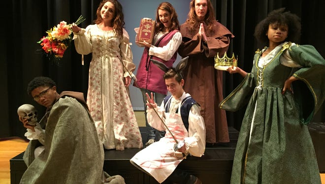 "(Top row, from left) Jaime DiMatteo, Morgan Sorrels and Ryon Bassi; and (bottom row, from left) Sarah Hatten, Matt Camardo and Oliveya Powell will be among students from the Salem County Vo-Tech Theatre Academy at Schalick High School who present ""The Complete Works of William Shakespeare."""