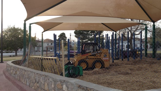 Work is underway at the playground at Mundy Park in Sunset Heights.