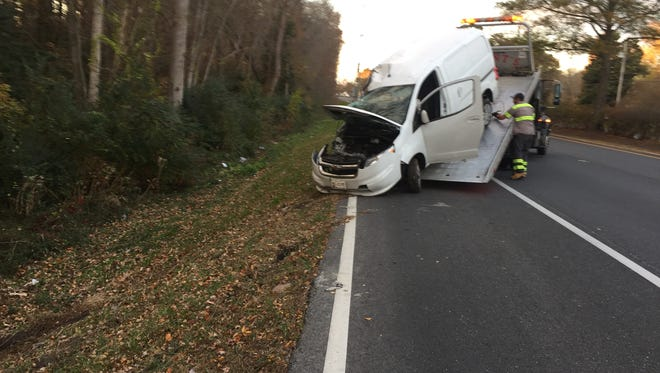 A van collided with a tree on Nov. 26, 2016.