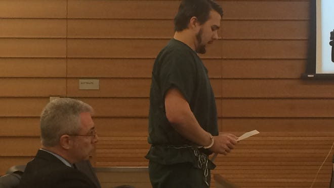 Christopher Lee appears at his sentencing Tuesday in San Bernardino County Superior Court. He was sentenced to life in prison after being convicted this month of killing Erin Corwin.