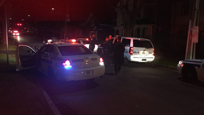 Rochester police on Magnolia Street after suspects ran from a traffic stop on Nellis Park on Tuesday night.