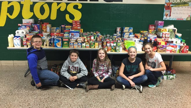Rothschild Elementary School students were among the contributors to the Peyton's Promise holiday food drive.