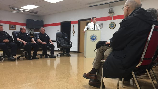 Marine City Police Chief Jim Heaslip talks with residents during a town hall on Thursday, Dec. 1, 2016, at the city's fire station.