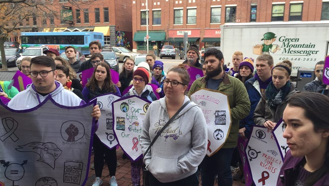 Saint Michael's College students took to Main Street in Burlington on Dec. 2, 2016, to ask Senators Bernie Sanders and Patrick Leahy to continue to protect vulnerable populations in Vermont and the U.S.