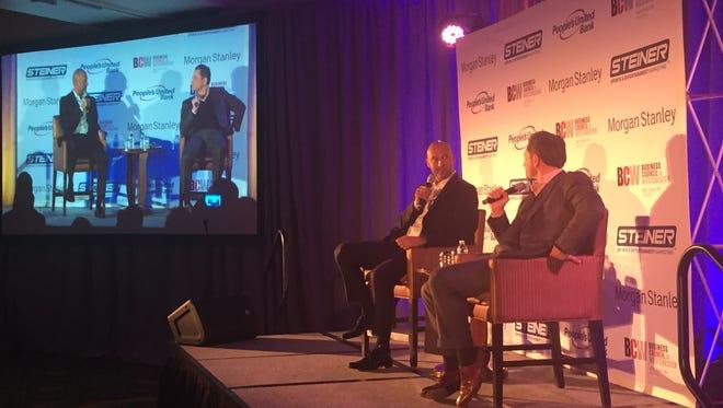 Derek Jeter and ESPN's Jeremy Schaap at the Westchester Marriott in Tarrytown, Dec. 6, 2016.