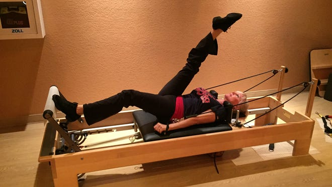 For those just starting out, Pilates on the reformer is done lying down. As you get stronger, exercises are performed while sitting or standing.