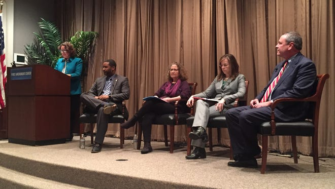 From left to right: Tennessee Coalition for Open Government Executive Director Deborah Fisher, Mayor's Office Neighborhoods and Community Engagement Director Lonnell Matthews, ACLU Tennessee Executive Director Hedy Weiner, Davidson County Public Defender Dawn Deaner and District Attorney General Glenn Funk. The expert panel addressed the implementation of police body cameras in Nashville and throughout Tennessee Dec. 7, 2016.