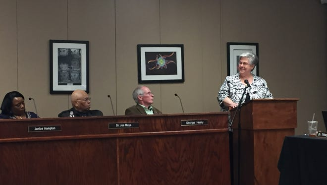 Shirley Jones, the Jackson Chamber's senior vice president of public affairs, tells the Jackson-Madison County School Board that she is transferring her educational activities.