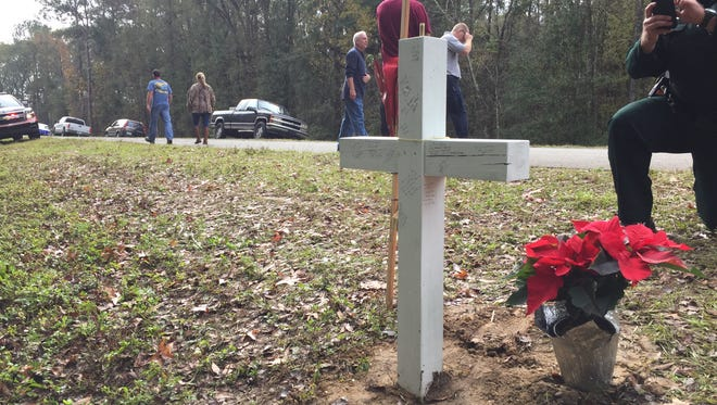 Tallahassee fire fighters created a makeshift memorial for Capt. Brad Deanda, who died Sunday after being struck by a car in Monticello.