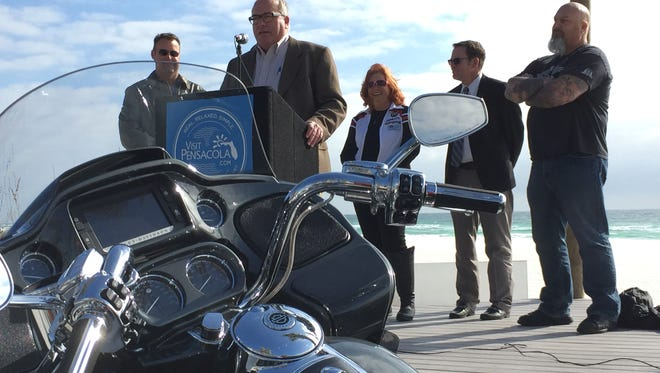 Officials with the Harley Owners Group, Visit Pensacola and the Escambia County Board of County Commissioners spoke at Casino Beach Bar on Pensacola Beach to announce the 2017 Southeast H.O.G. Rally, set for Nov. 1-4.