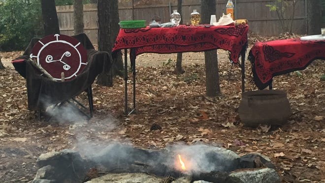 The ceremonial altar, shield and bonfire at the 2016 Yule ceremony.
