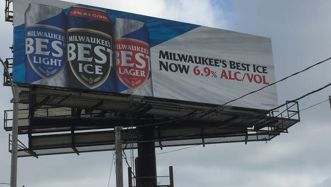 MillerCoors has been advertising the alcohol level of Milwaukee's Best Ice beer on billboards along freeways here.