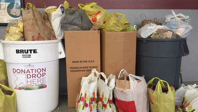 The Courier-Post lobby is loaded with non-perishable food donated by readers and employees to the Food Bank of South Jersey.
