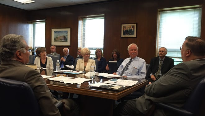 """The Ocean County Board of Freeholders meet in what it calls """"pre-board"""" session, which is equivalent to an agenda meeting, earlier this year in the board conference room at the Administration Building in Toms River."""