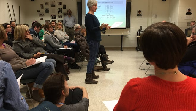 Parents and librarians were present at the dec. 20, 2016 school budget presentation by members of the Burlington School Board's finance committee.