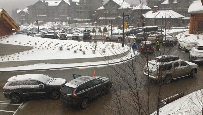 Traffic at the drop-off area at Spruce Plaza at Stowe Resort on Dec. 29, 2016.