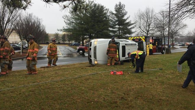 An SUV flipped over on its side near the mall on Jan. 3, 2017.