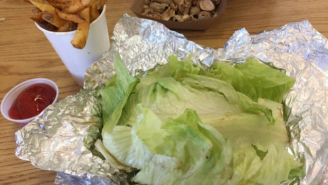 A trick to forgoing some needless calories at Five Guys Burgers and Fries is to go bunless and ask for a lettuce burger.