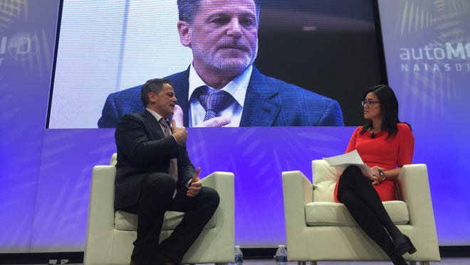 Dan Gilbert speaks with Bloomberg News' Betty Liu during the 2017 North American International Auto Show on Sunday, Jan. 8, 2017 at Cobo Center in downtown Detroit.