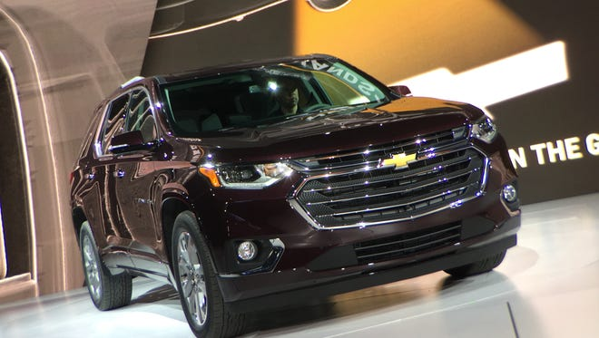 General Motors reveals the 2018 Chevrolet Traverse during the 2017 North American International Auto Show at Cobo Center in Detroit. The SUV will launch this fall.