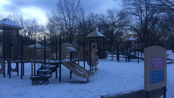 The Ridgeview Park playground in Waynesboro, Va., sits covered in snow on Monday, Jan. 9, 2017.