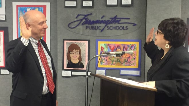 Farmington Board of Education Trustee Jim Stark, who took the oath of office from Judge Marla Parker in 2017, announced his resignation Tuesday.