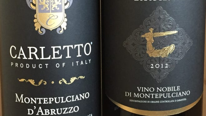 The wine at left is made from the Montepulciano grape in Italy's Abruzzo province. The wine at right is made from a different grape in the village of Montepulciano, Tuscany.