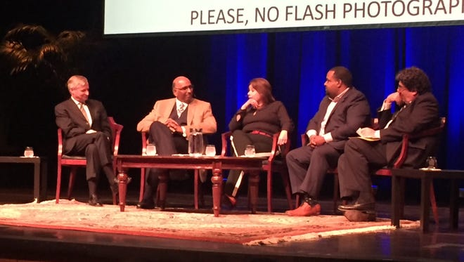 President Barack Obama's legacy and where the country is headed were the topic of discussion with Jon Meacham from left, Michael Steele, Ana Navarro, Joshua DuBois and Nicholas Zeppos during an event at Vanderbilt University on Tuesday, Jan. 17, 2017.