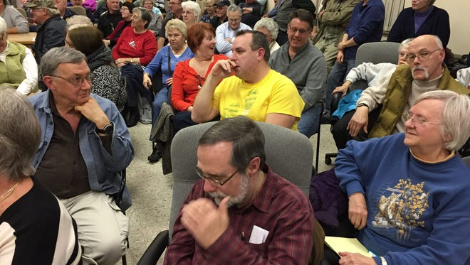 An estimated 150-200 people filled Chambersburg Borough Council chambers Thursday night to question borough officials about its sidewalk policy.