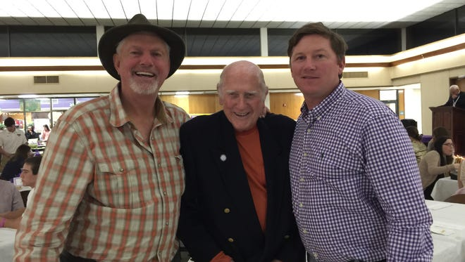 Former major league pitcher Bill Lee is shown with former Eunice mayor Curtis Joubert and son Andy Lee, head softball coach at LSU-Eunice. Bill Lee was the guest speaker at the annual LSUE Hall of Fame Gala held Saturday night on the school campus. The event honored Andy Lee's 2016 team that won a National Junior College Athletic Association national title. The women on the team were presented with championship rings.