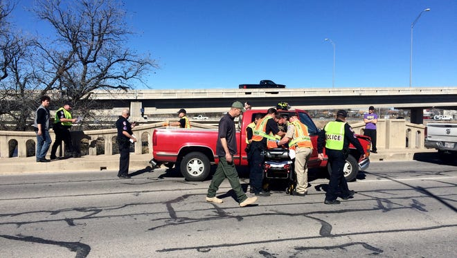 A teen was taken to the hospital by ambulance following a three-vehicle crash.