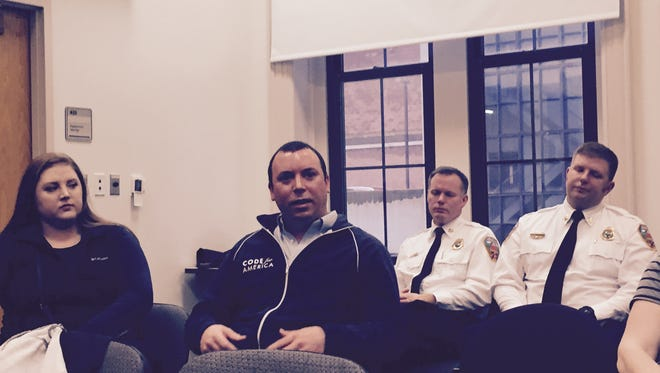 Patrick Conant, a member of Code for Asheville, during a Public Safety Committee meeting.